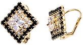 Black & Gold Diamond Huggie Earrings With Swarovski® Crystals