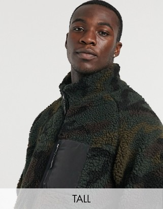 Brave Soul Tall camo borg sherpa zip-up jacket with mixed panel