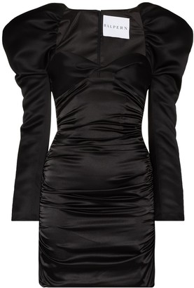 Halpern Puff-Sleeve Ruched Mini Dress
