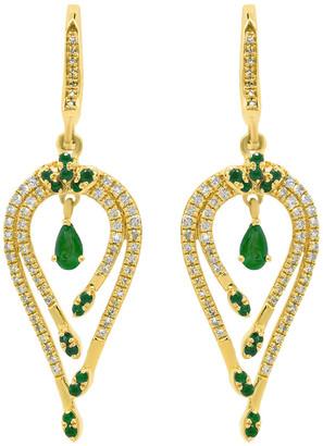 Diana M Fine Jewelry 14K 0.97 Ct. Tw. Diamond & Emerald Earrings