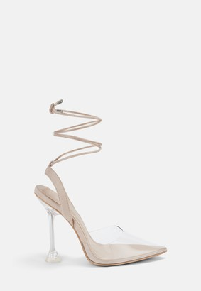 Missguided Nude Lace Up Clear Heels