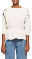 Chloé Lace-Trim Wool-Cashmere Cinch-Waist Sweater, White