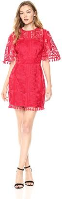 Finders Keepers findersKEEPERS Women's Spectrum Short Sleeve Tassel Detail Mini Dress