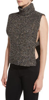 Isabel Marant Haway Sleeveless Side-Vent Turtleneck Sweater, Black/Multi