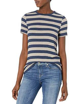 Three Dots Women's Stripe Rib t-Shirt Crew Neck