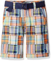 "U.S. Polo Assn. Big Boys' ""Patch Madras"" Belted Shorts"