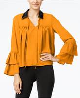 Cable & Gauge Faux-Leather-Collar Ruffled Blouse