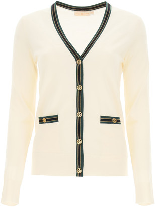 Tory Burch MADELINE CARDIGAN WITH LOGO BUTTONS L Beige, Green, Black Wool