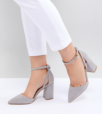 Raid Wide Fit Katy Light Grey Block Heeled Shoes