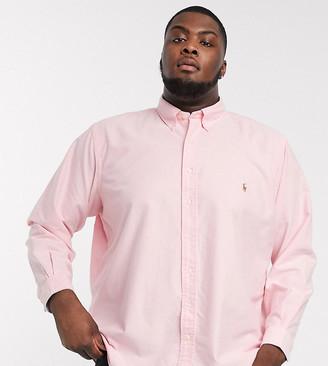 Polo Ralph Lauren Big & Tall oxford shirt custom regular fit player logo in pink