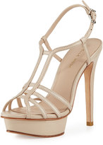 Pelle Moda Marble Leather Strappy Platform Sandal, Cream