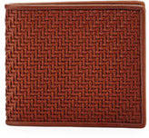 Ermenegildo Zegna Pelle Tessuta Woven Leather Bi-Fold Wallet, Vicuna Brown