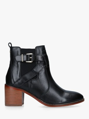 Carvela Slick Leather Block Heeled Ankle Boots, Black