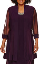 R & M Richards R&M Richards 3/4-Sleeve Beaded-Neck Mesh Jacket Dress - Plus
