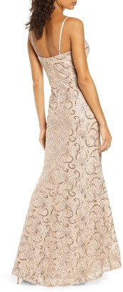 Vince Camuto Sequin Floral A-Line Gown