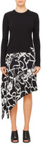 Proenza Schouler Asym Dress W Knit-Printed Georgette