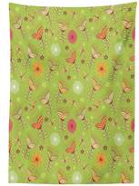 vipsung Country Decor Tablecloth Bluebell Flower Motifs with Peony Funky Fashioned Boho Retro Artsy Print Bright Pattern Rectangular Table Cover for Dining Room Kitchen Green Pink