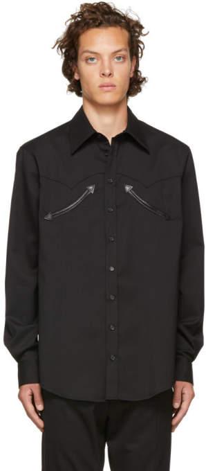 DSQUARED2 Black Wool Chic Military Shirt