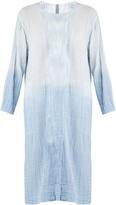 Raquel Allegra Round-neck long-sleeved cotton-gauze dress