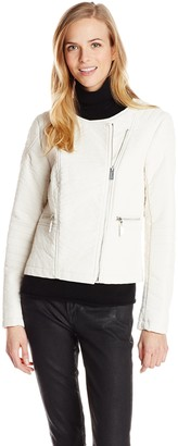 Vince Camuto Women's Collarless Asymmetrical Zip Pleather Jacket