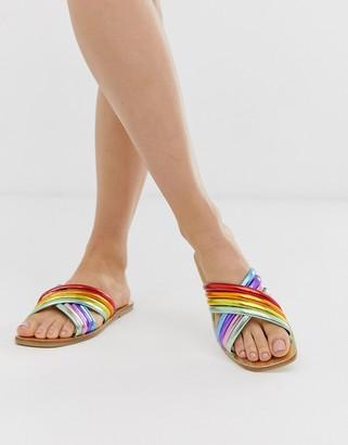 Asos Design DESIGN Falsetto cross strap flat sandals in rainbow-Multi