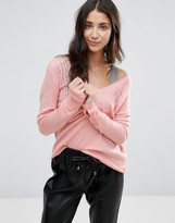 Pam & Gela V Neck Ladder Sweater