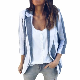 Kalorywee Sale Cleance Blazer KaloryWee Striped Blazer Womens Bubble Frill Tailored Cardigan Jacket Lightweight Office Shawl Collar Occasion Cover Up Jacket Suit Blue