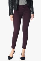 7 For All Mankind The Ankle Skinny In Port Wine Riche Sateen