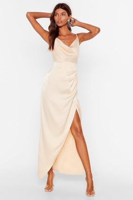 Nasty Gal Womens Cowl Play Satin Midi Dress - Champagne