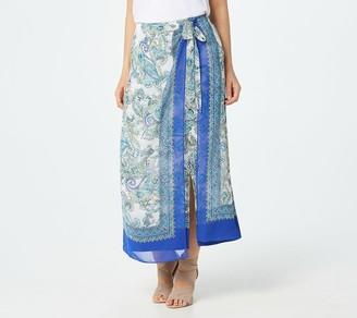 Susan Graver Regular Printed Liquid Knit Skirt with Chiffon Wrap