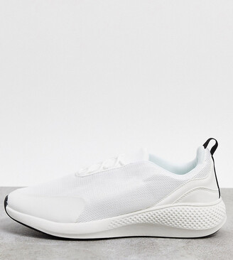 ASOS DESIGN Wide Fit mesh trainers in white