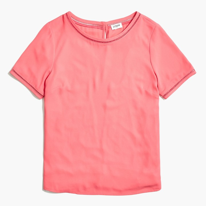 J.Crew Short-sleeve top with ladder trim