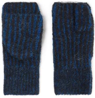 Rag & Bone Striped Knitted Mittens Fingerless Gloves