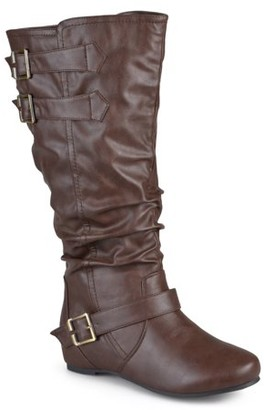 Brinley Co. Women's Wide-Calf Low-Wedge Buckle Slouch Boot