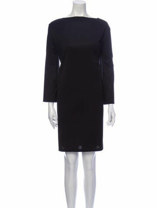 Hermes Bateau Neckline Knee-Length Dress Black