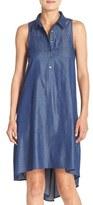 London Times Denim Chambray A-Line High/Low Shift Dress