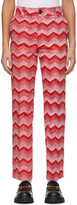 Thumbnail for your product : SSENSE WORKS SSENSE Exclusive Jeremy O. Harris Red & Pink Print Cropped Trousers
