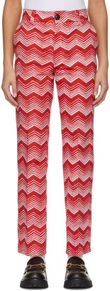 SSENSE WORKS SSENSE Exclusive Jeremy O. Harris Red & Pink Print Cropped Trousers