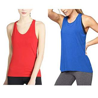 Women's Workout Tanks Round Neck Racerback Tank Tops Activewear Workout Clothes (