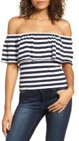 BP Stripe Ruffle Off the Shoulder Tee