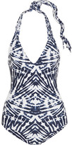 Mikoh Mediterranean Printed Macramé-paneled Halterneck Swimsuit - Storm blue