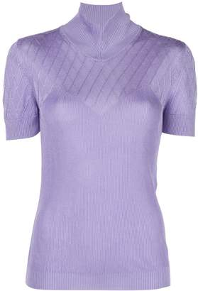 Paco Rabanne ribbed mock-neck top