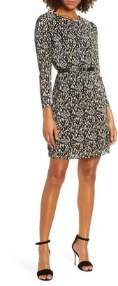 Sam Edelman Leopard Print Micropleat Belted Long Sleeve Dress