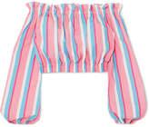STAUD - Fair Off-the-shoulder Striped Stretch-cotton Poplin Top - Pink