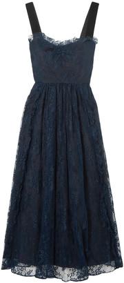 ALEXACHUNG Velvet-trimmed Lace Midi Dress