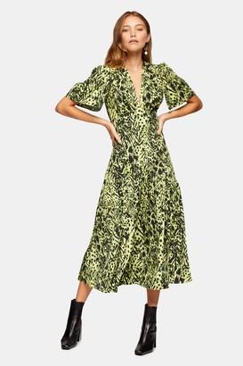 Topshop Lime Green Animal Print Angel Midi Dress