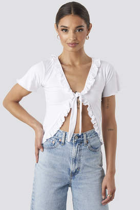 NA-KD Tie Front Ruffle Jersey Top White