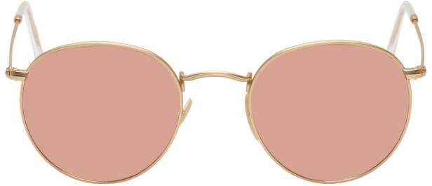 Ray-Ban Gold and Copper Round Phantos Sunglasses