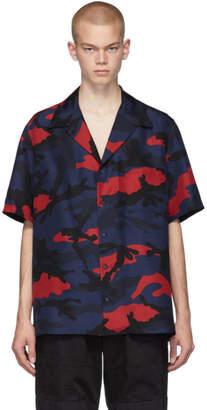 Valentino Navy and Red Silk Camo Shirt