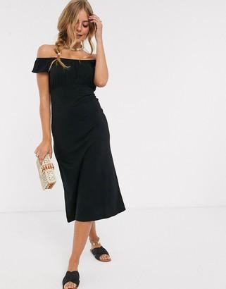 Asos DESIGN off shoulder midi sundress with pep hem in black